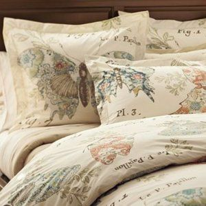 Pottery Barn Butterfly Script Euro Pillow Shams